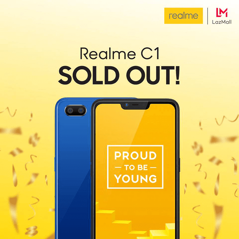 Realme sold every C1 at Lazada in just 1 day!
