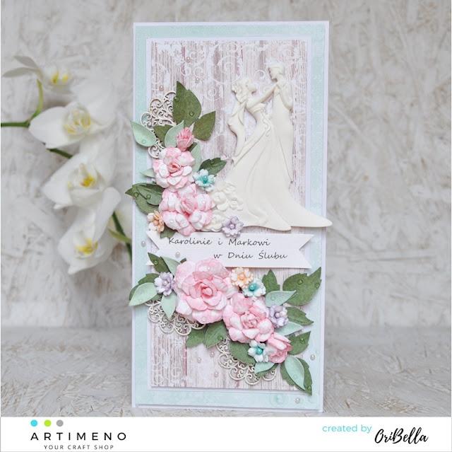 kartka z różami na ślub