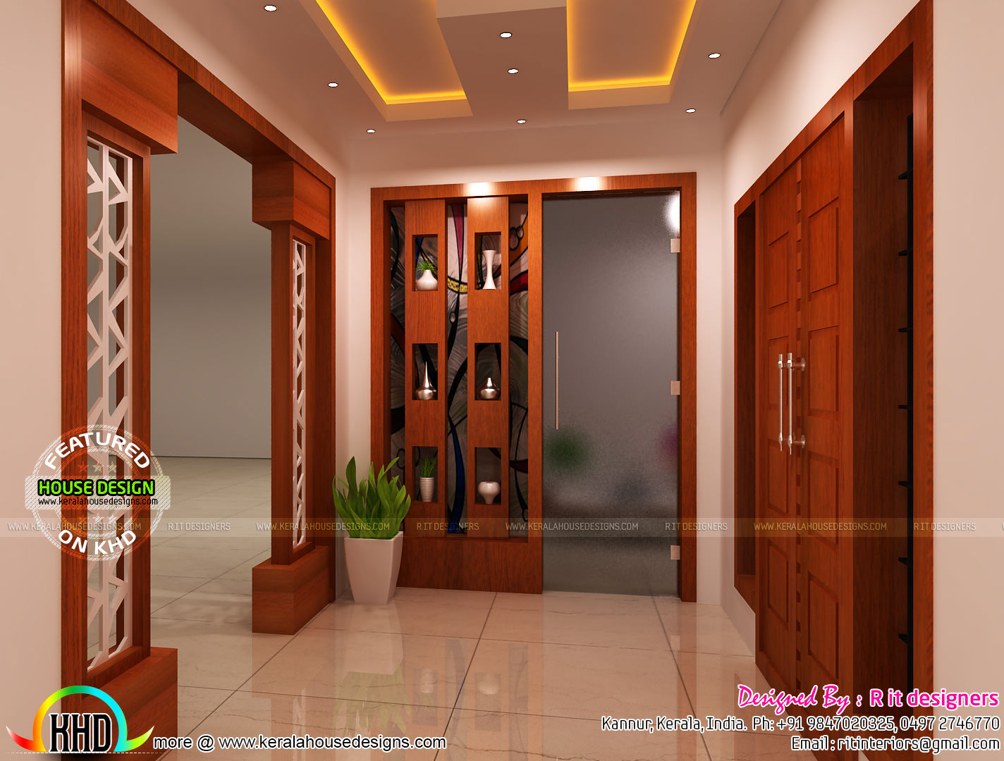Modular kitchen living bathroom and foyer kerala home for Interior design house outside