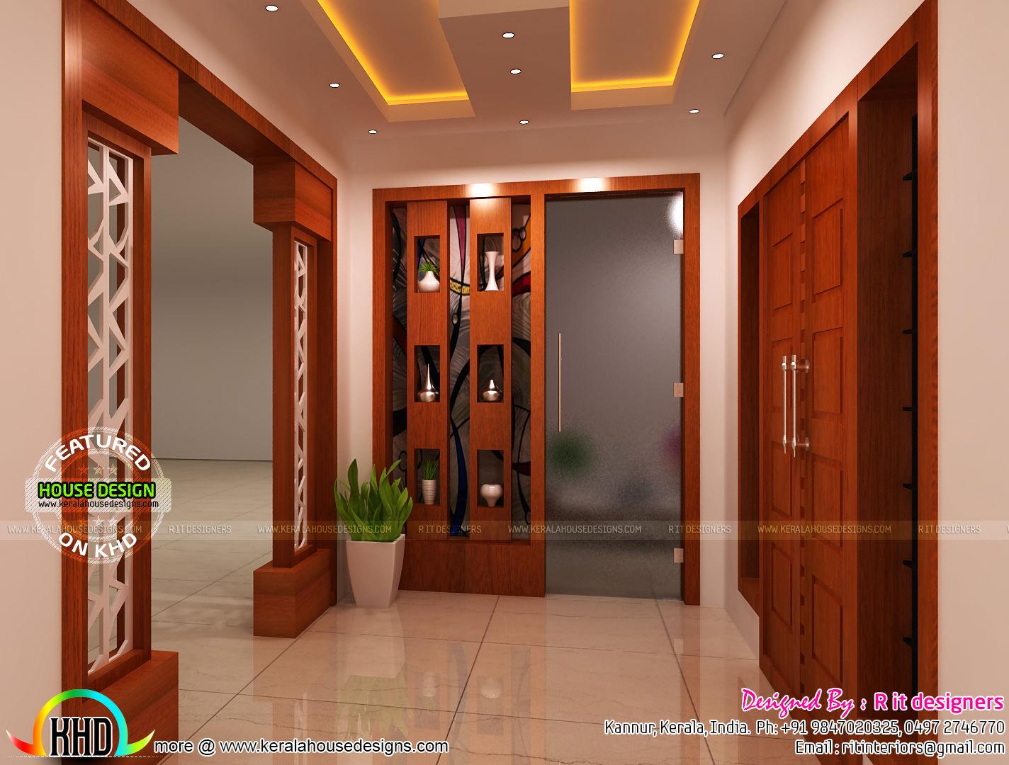 Modular kitchen, living, bathroom and foyer - Kerala home ...