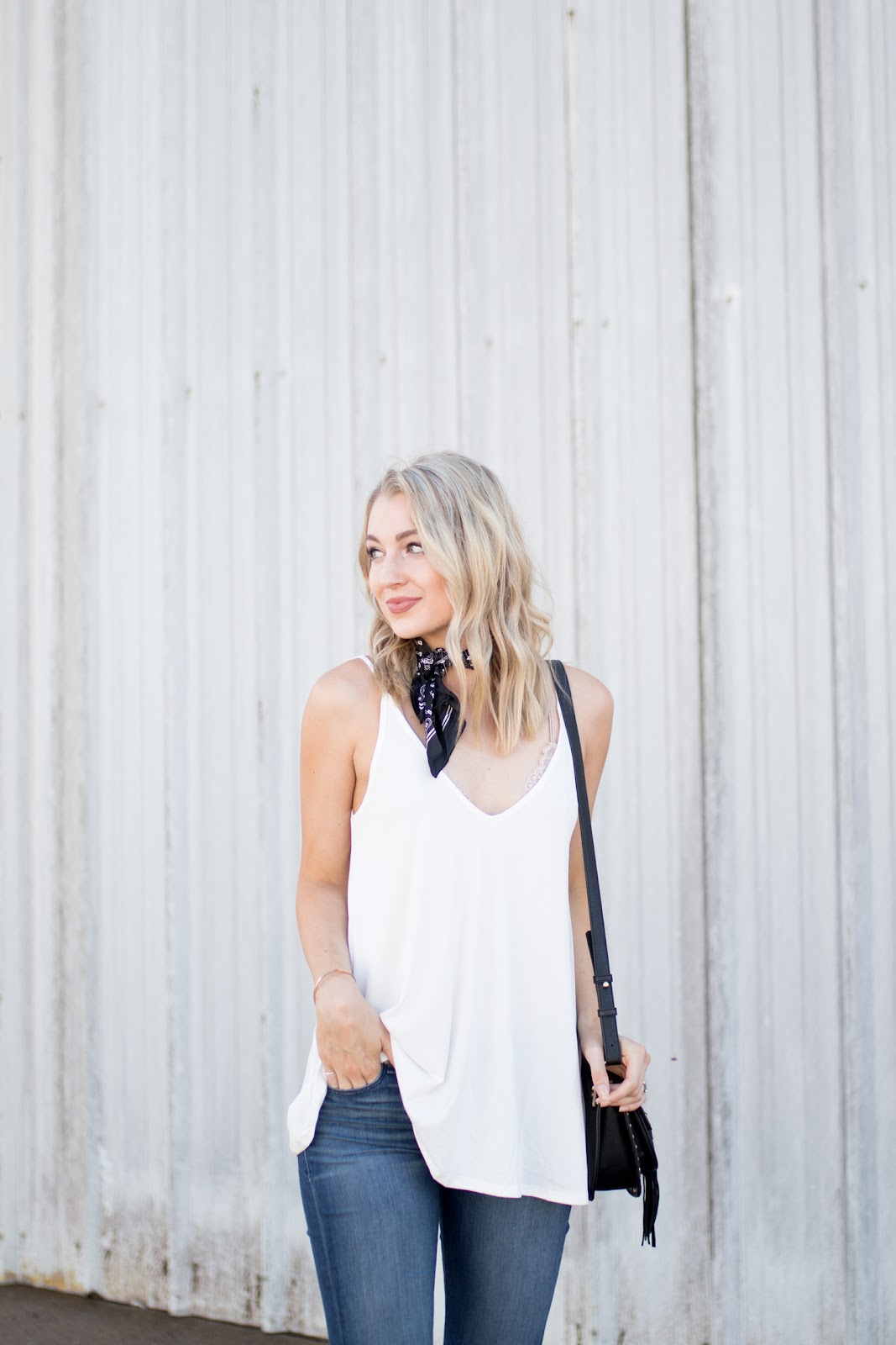 White tank with dark wash denim