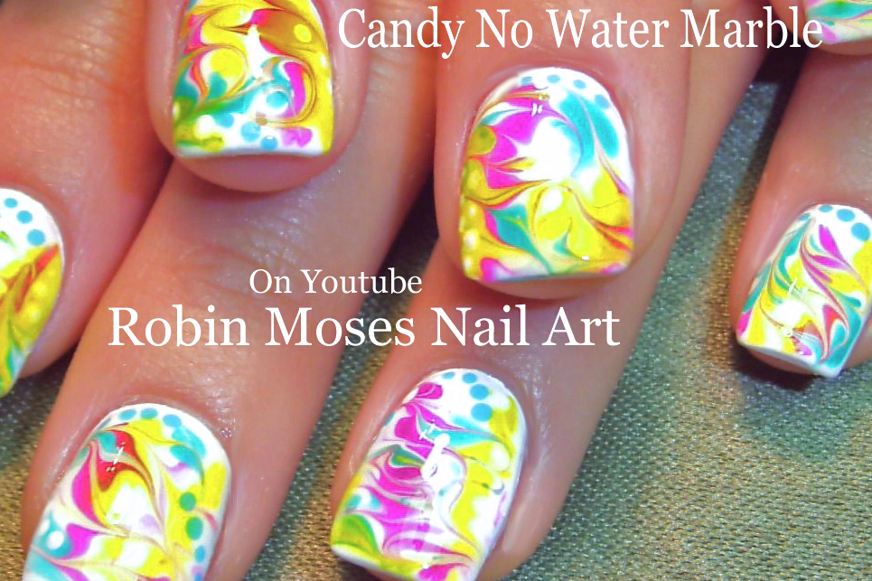 Nail Art by Robin Moses: Black and White No water Marble!