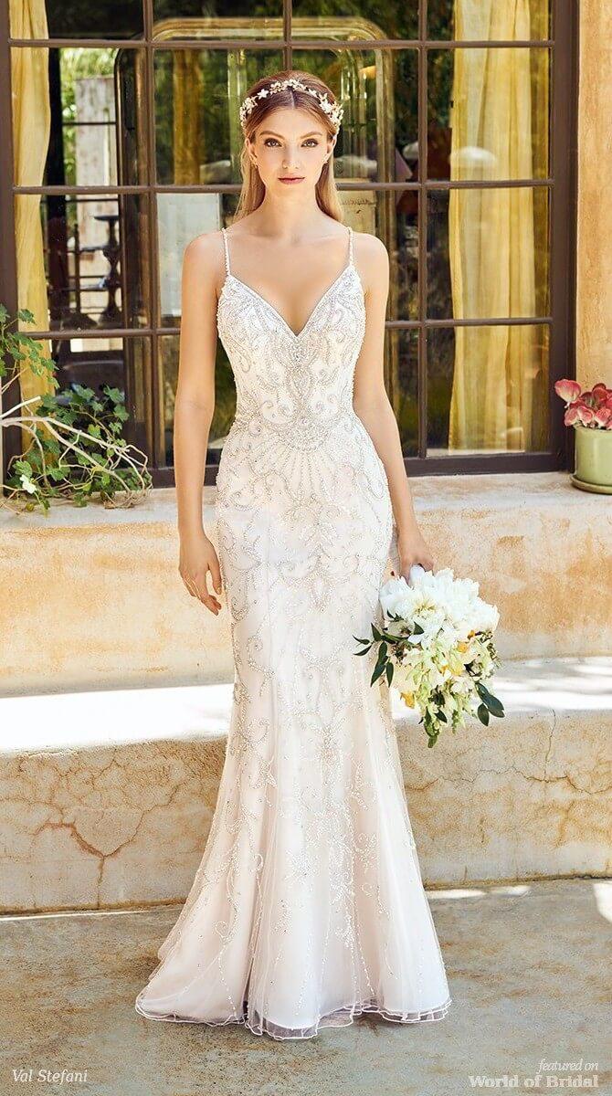 Val Stefani Spring 2018 Stunning Beaded Net Mermaid Wedding Dress