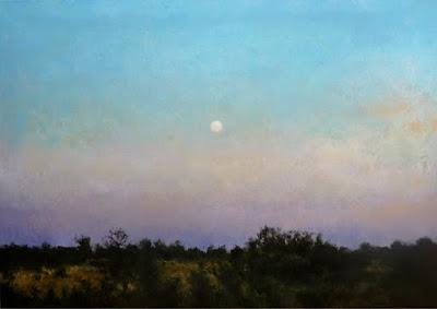 cuadro de un anochecer pintado al oleo