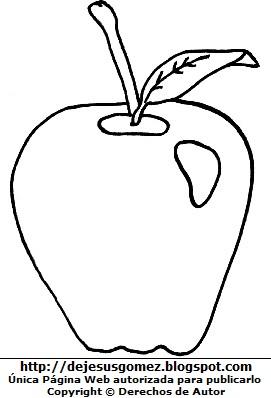 Manzana con su hoja para colorear, pintar o imprimir. Dibujo de manzana de Jesus Gómez