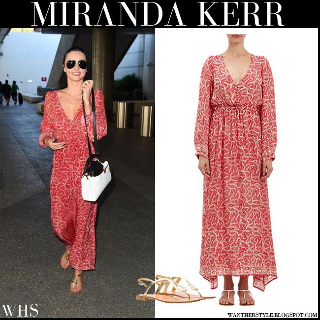 1de7f76f9411 Miranda Kerr in red print maxi Natalie Martin April dress with gold Prada  thong sandals what