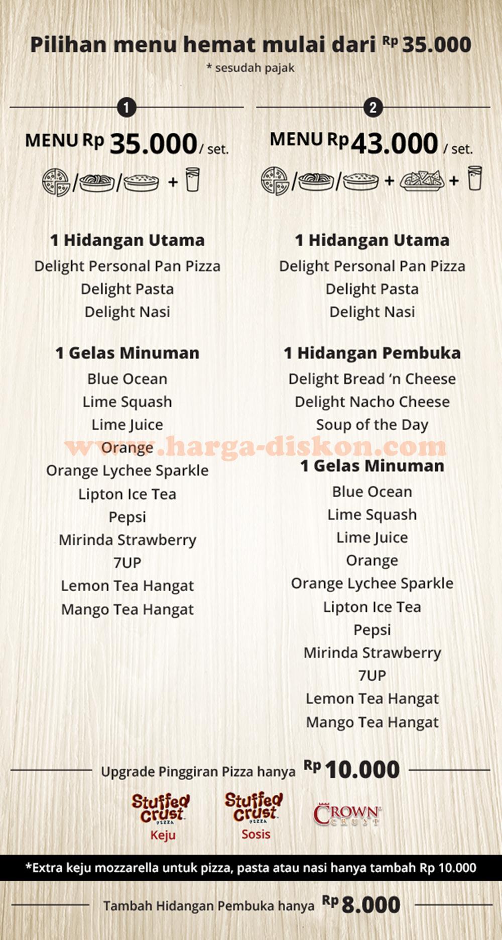 Sensasi Delight Pizza Hut : sensasi, delight, pizza, Promo, PIZZA, Sensasi, Delight, Mulai, Rp35.000, Orang, Harga, Diskon