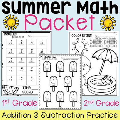 Summer Math Addition and Subtraction packet for first and second grade.