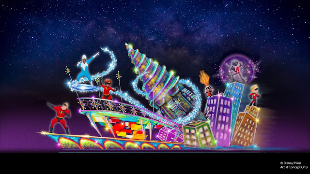 Incredibles float concept art from the Paint the Night parade