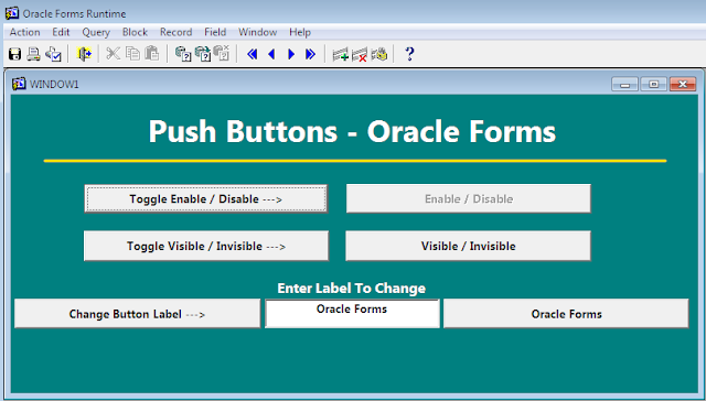 Push Buttons example for Oracle Forms