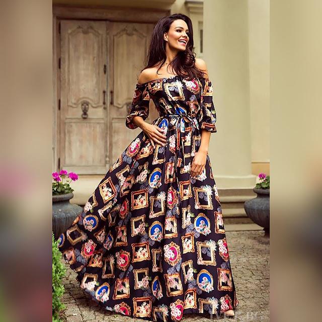 Εντυπωσιακό μάξι χρωματιστό φόρεμα MISTERA