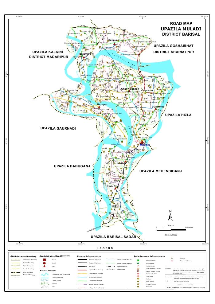Muladi Upazila Road Map Barisal District Bangladesh