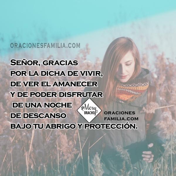 Frases con oración corta para la noche o el día, gracias a Dios, oraciones por mi vida, ayuda de Dios, dame un nuevo corazón, frases por Mery Bracho.