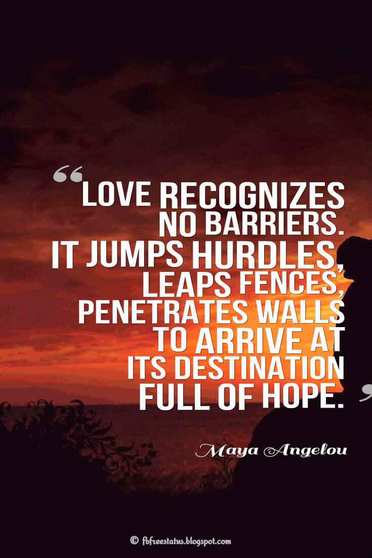 'Love recognizes no barriers. It jumps hurdles, leaps fences, penetrates walls to arrive at its destination full of hope.' ― Maya Angelou quotes about love