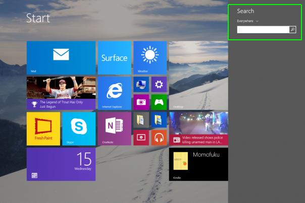 Kotak pencarian pada Windows 8