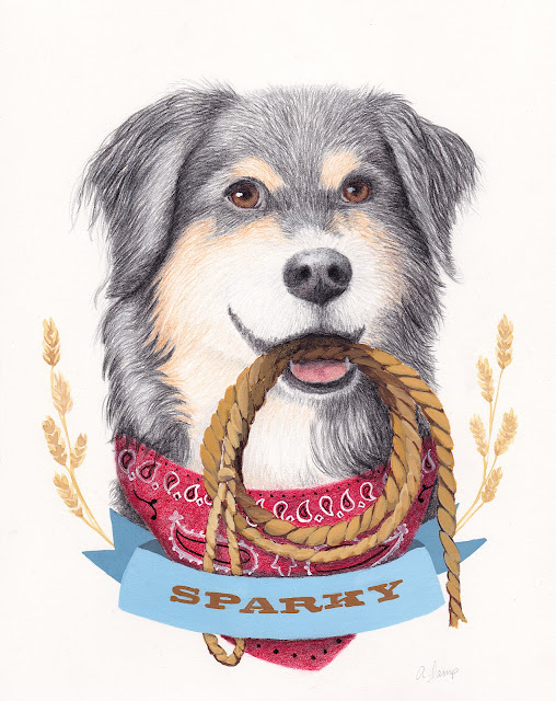 custom hand drawn mixed media portrait of Sparky the playful Australian Shepherd-Border Collie mix