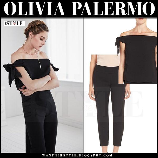 Olivia Palermo in black off shoulder top and black pants chelsea28 nordstrom collection november 2016