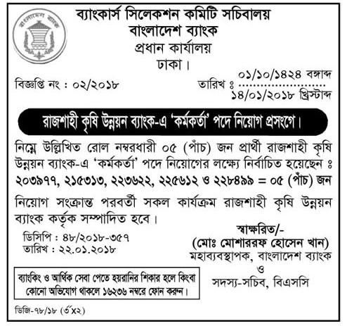 Rajshahi Krishi Unnayan Bank Job Result 2018 1