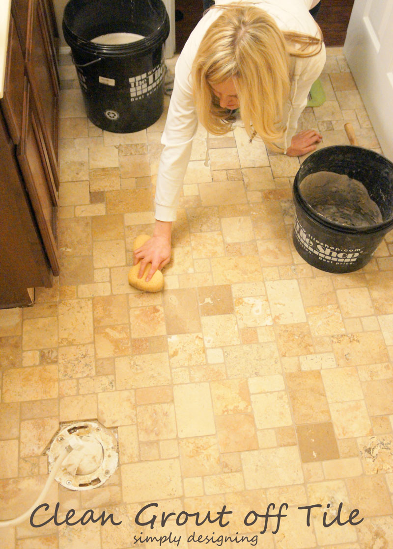 How to Grout and Clean Tile | a complete tutorial for how to demo, prep, install concrete backer board and install tile | #diy #bathroom #tile #thetileshop @thetileshop