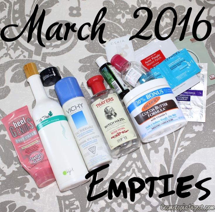 Here are the beauty products I emptied in March 2016 and my quick thoughts on each.