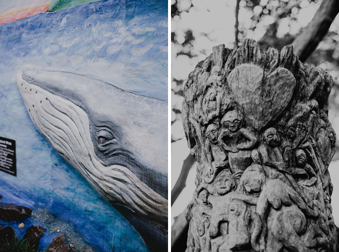 wood carving and whale