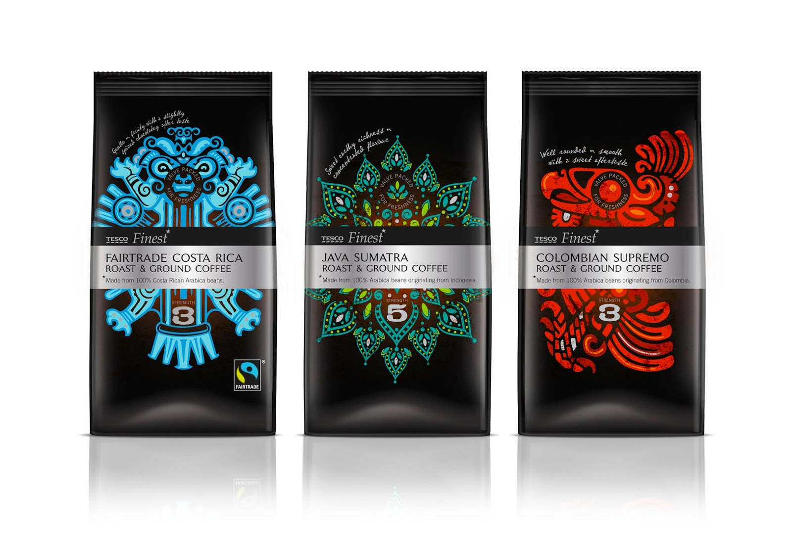 Tesco Finest Roast Amp Ground Coffee Bags On Packaging Of