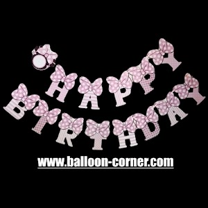 Bunting Banner HAPPY BIRTHDAY Motif Minnie Mouse Pita