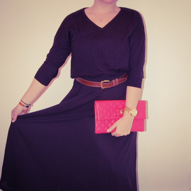 Black maxi skirt and sweater