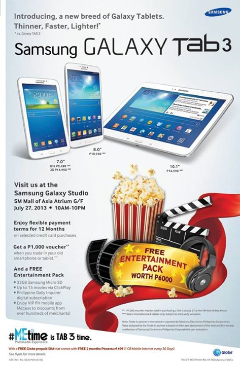 Samsung Galaxy Tab 3 7,8 and 10 inches Wi-Fi/3G unit price and promo