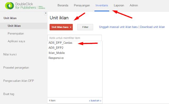 Klik tab inventory pada menu google dfp