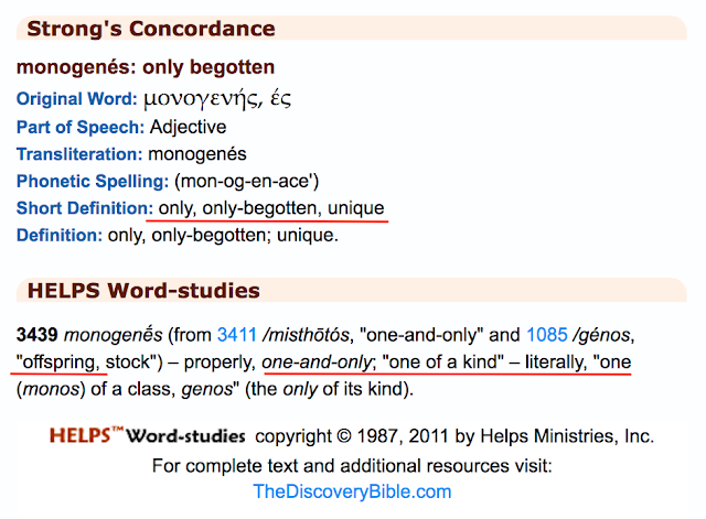 Strong's Concordance monogenés: only begotten
