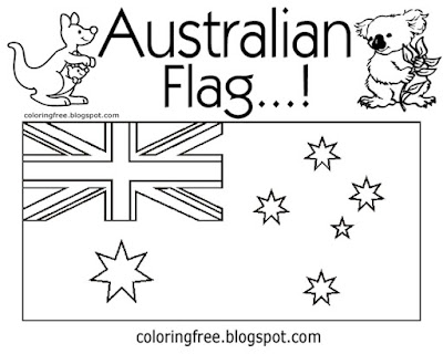 Art activities easy image flag of Australia printable Australian colouring pages for kids with words