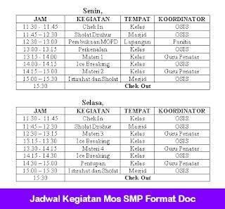 Jadwal Kegiatan Mos SMP Format Doc