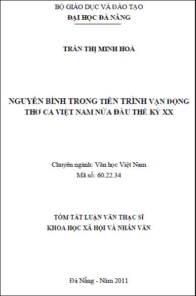 Nguyễn Bính trong tiến trình vận động thơ ca Việt Nam nửa đầu thế kỷ XX