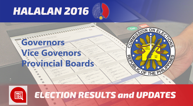 2016 Gubernatorial and Provincial Boards Election Results