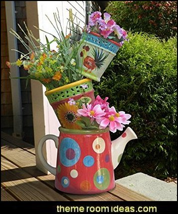 garden pots 4ft. Tipsy Tower Plant Stands  Alice in Wonderland party decorating ideas - Alice in Wonderland theme party decorations - Alice in Wonderland costumes - Alice in Wonderlnd wall decals - Alice in Wonderland wall murals - tea party theme Alice in Wonderland Tea Party