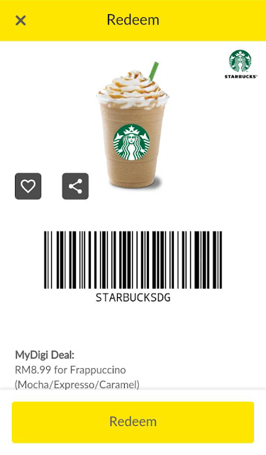 My Digi Mobile App Deal Starbucks Frappuccino Voucher Discount Promo