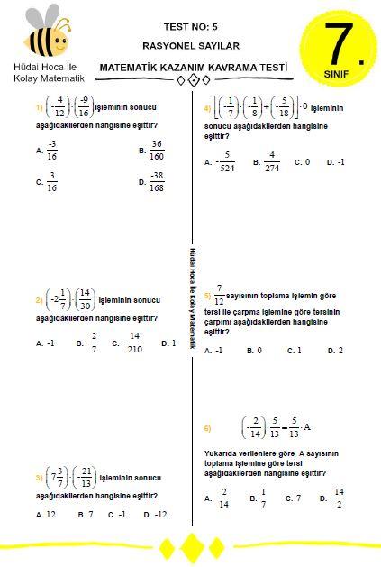 7 Sinif Rasyonel Sayilar Test No 5 Hüdai Hoca Ile Kolay Matematik