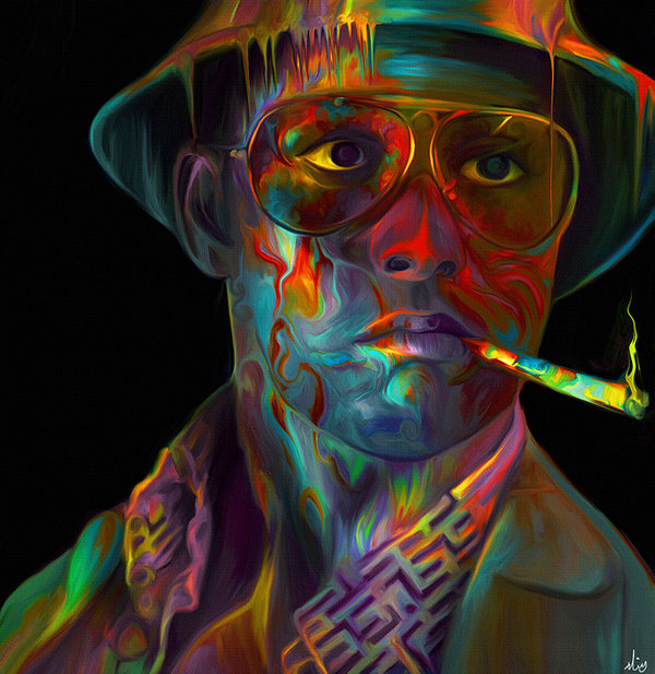 07-Raoul-Duke-Johnny-Depp-Nicky-Barkla-Psychedelic-Celebrity-Portrait-Paintings-www-designstack-co