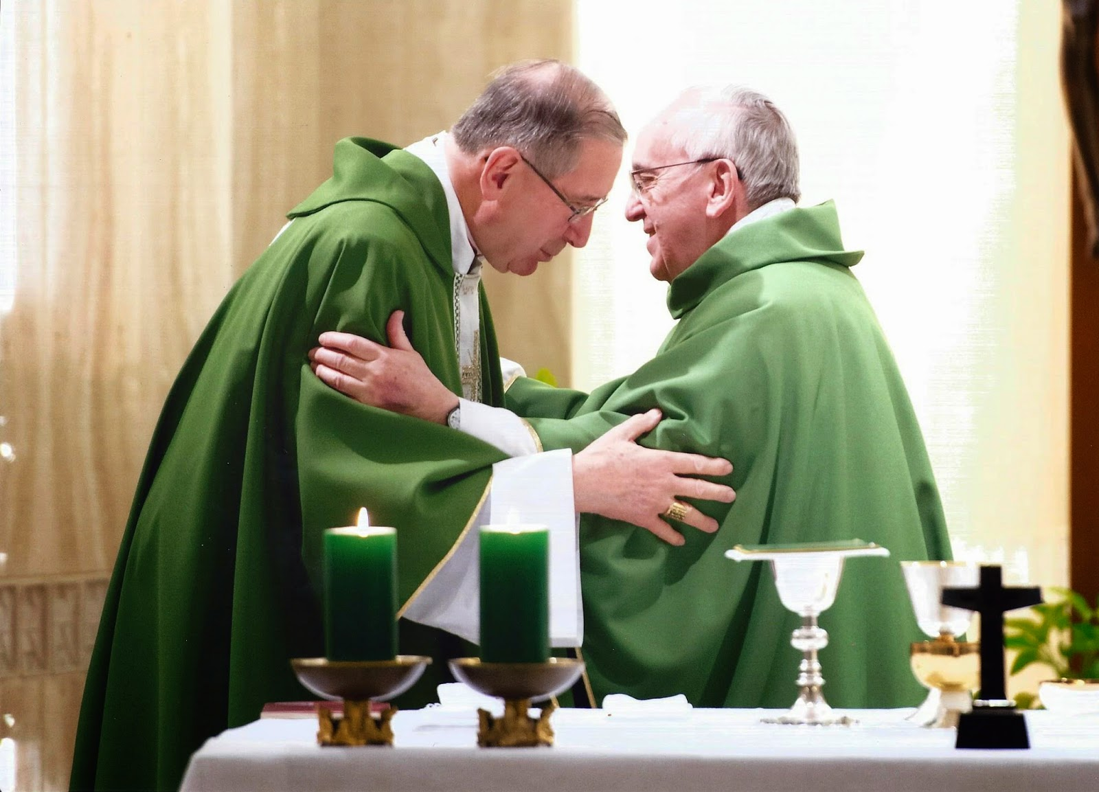 Cardinal Mahony concelebrates Mass with Pope Francis at Domus Sanctae Martae on January 16, 2014