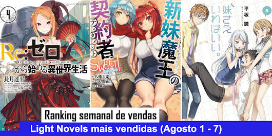 Ranking semanal de vendas de Light Novels (Agosto 1 - 7)