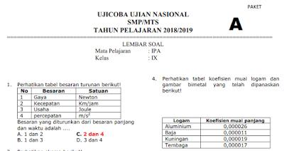 DOWNLOAD PDF SOAL UCUN IPA SMP TAHUN 2019 PAKET 1