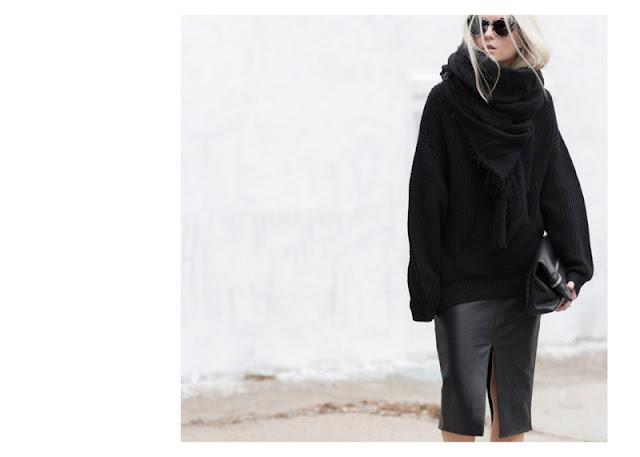 Черные кожаная юбка и свитер в total black look