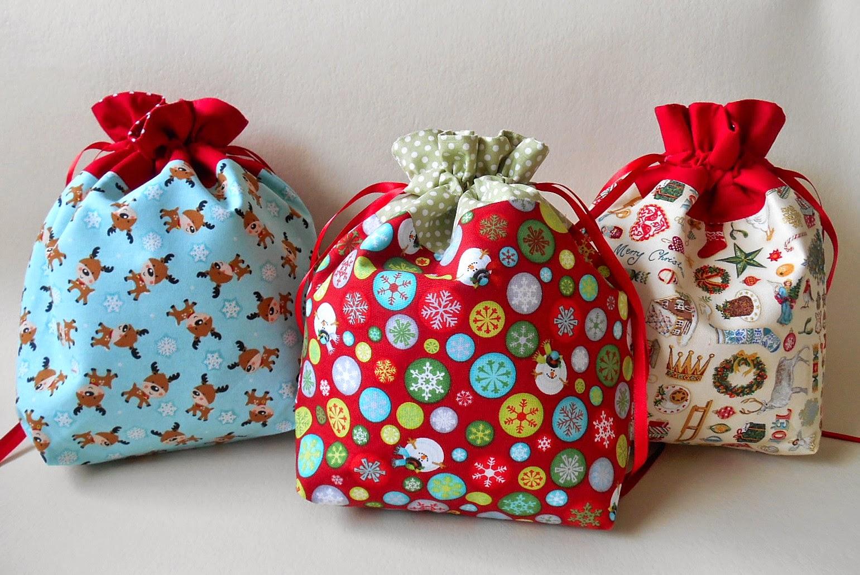 Gift Bag: Handmade By Eva Rose: Holiday Season- Drawstring Gift Bag