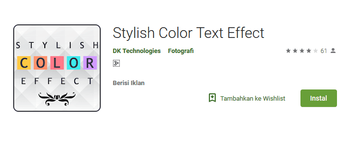 Aplikasi Stylish Color Text Effect