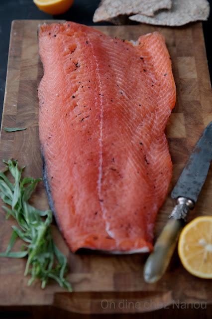 saumon mariné , facile , gravadlax, noël , estragon ,thé earl grey