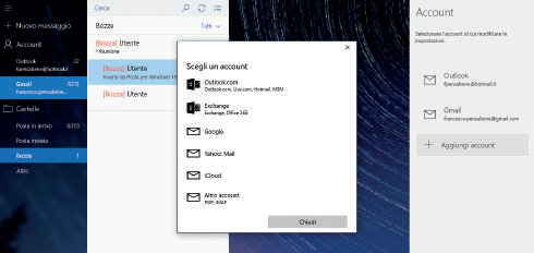 come aggiungere account posta in windows 10