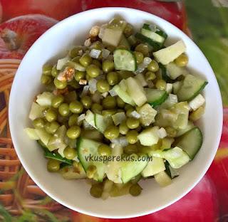 постный салат оливье с орешками