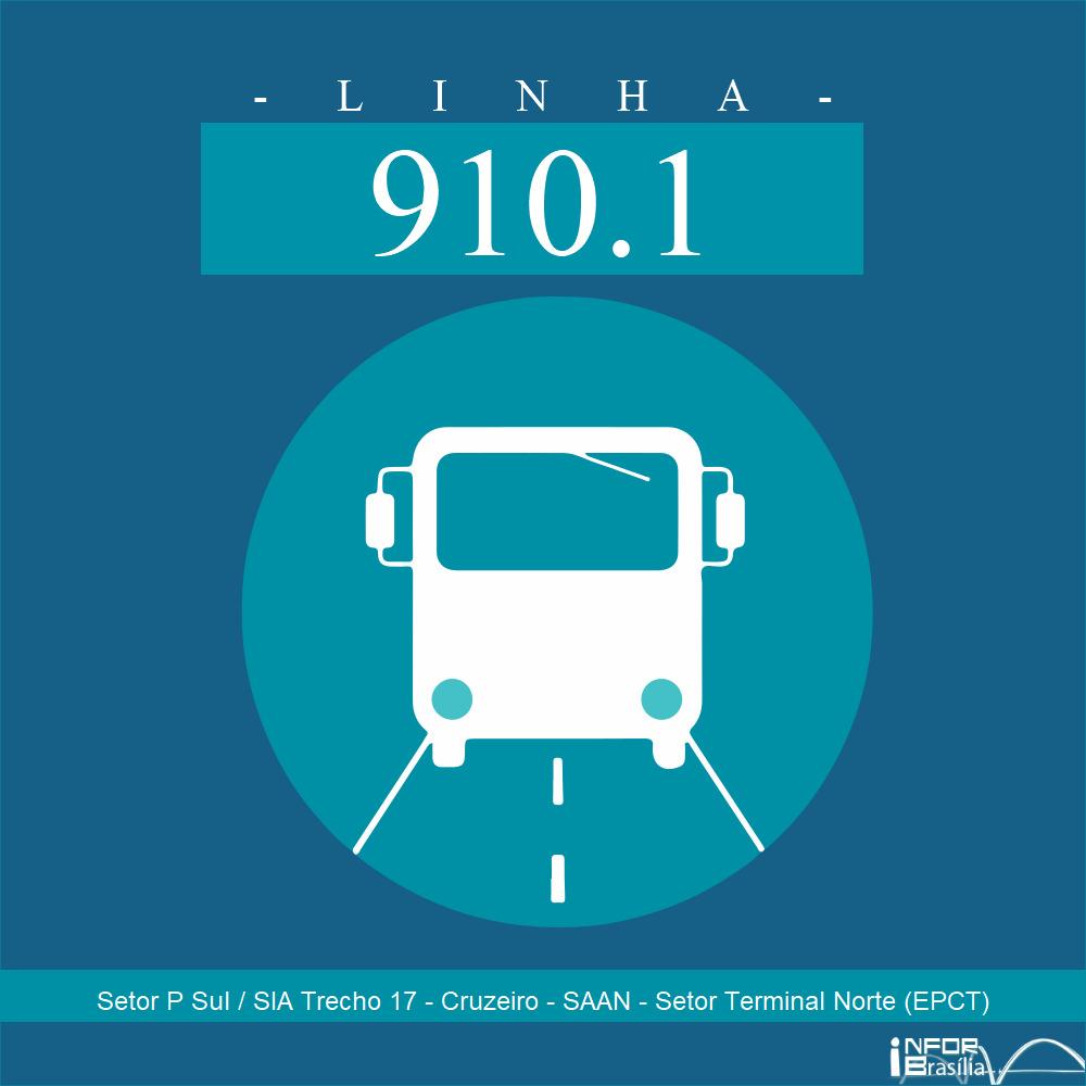 Horário de ônibus e itinerário 910.1 - Setor P Sul / SIA Trecho 17 - Cruzeiro - SAAN - Setor Terminal Norte (EPCT)