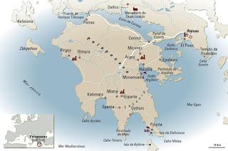 Mapa de la Península del Peloponeso.